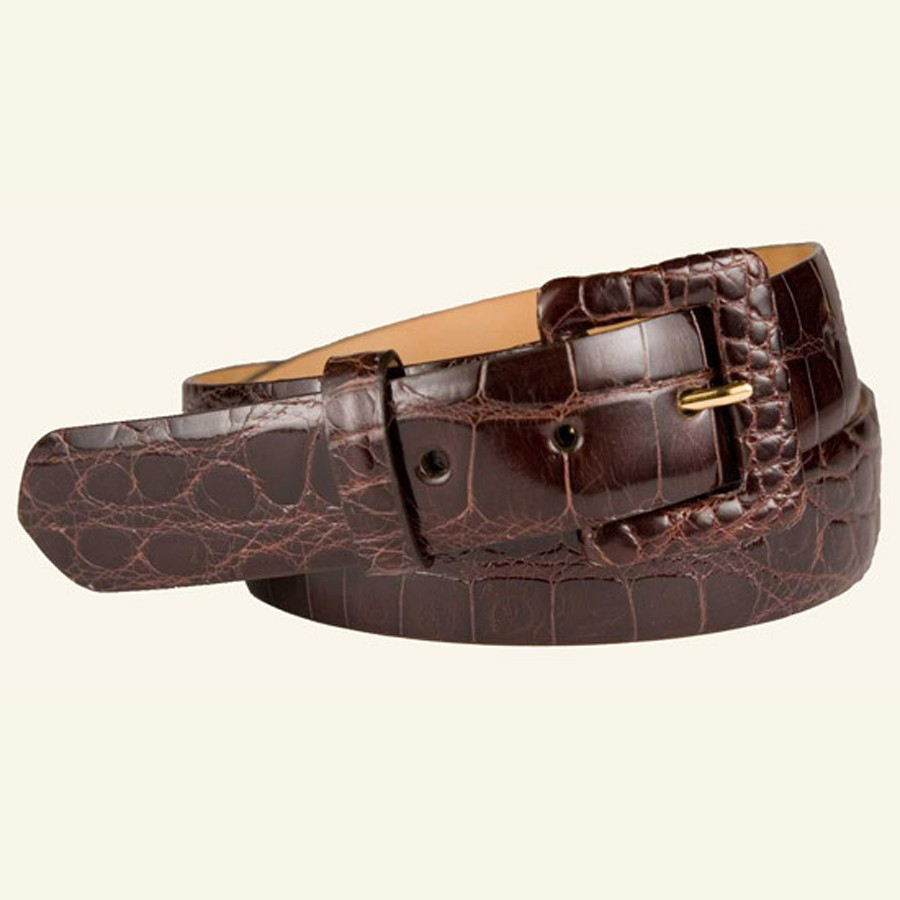 "1½"" Glazed Alligator Belt With Covered Buckle"