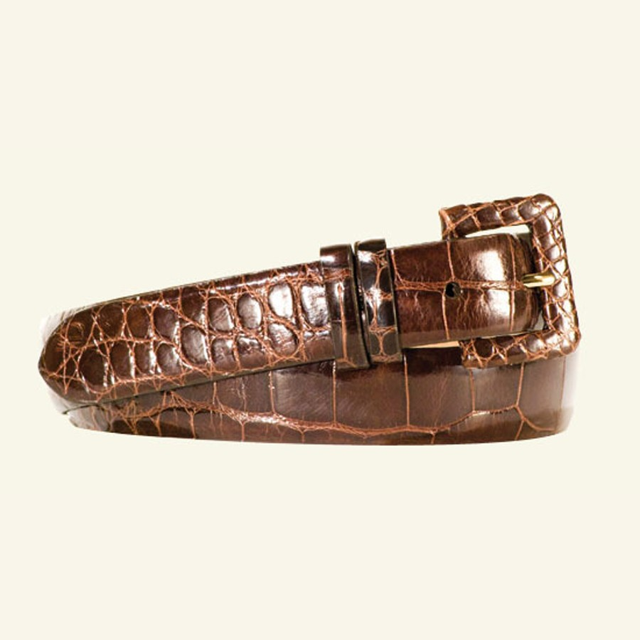 "1⅛"" Glazed Alligator Belt With Covered Buckle"