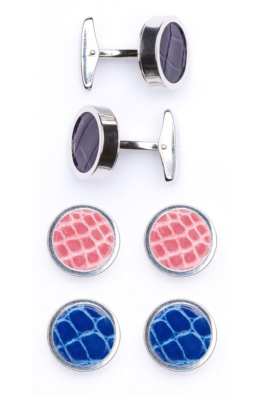 Interchangable Alligator Cufflinks (Purple, Pink, Blue)