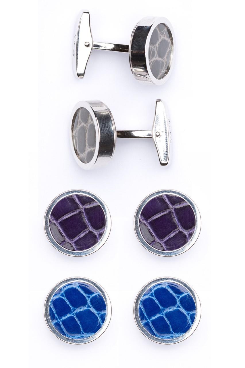 Interchangable Alligator Cufflinks (Gray, Purple, Blue)
