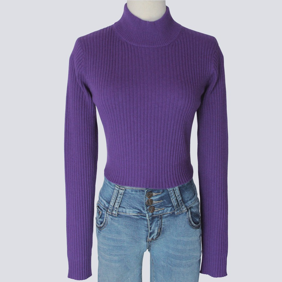 Ladies Ribbed Mock Neck