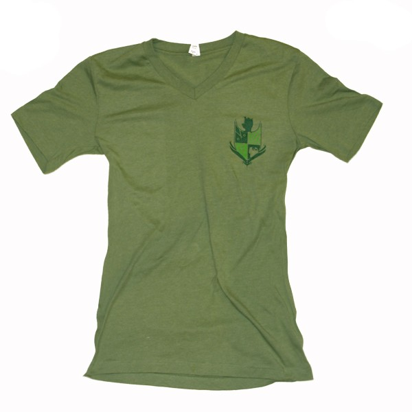Bello Verde Green Shield on Green V-Neck