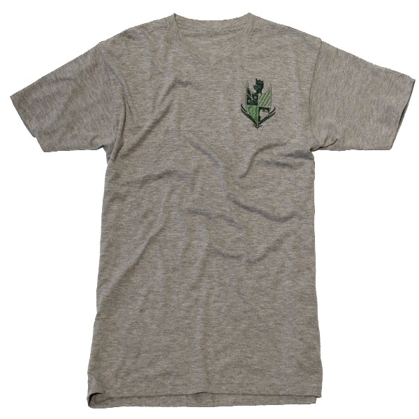 Bello Verde Green Shield on Grey V-Neck