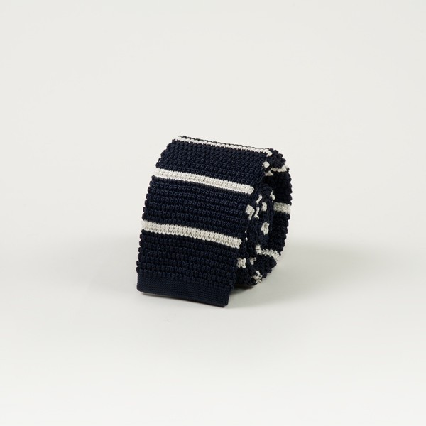Navy w/ Horizontal White Stripe Knit Tie