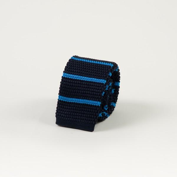 Navy w/ Horizontal Blue Stripe Knit Tie