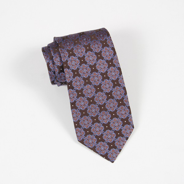 Brown & Blue Jacquard Tie