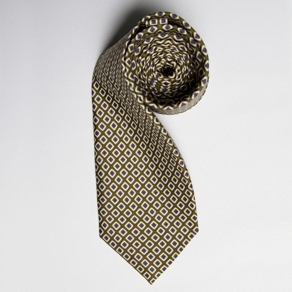 Olive/Blue Diamond Tie