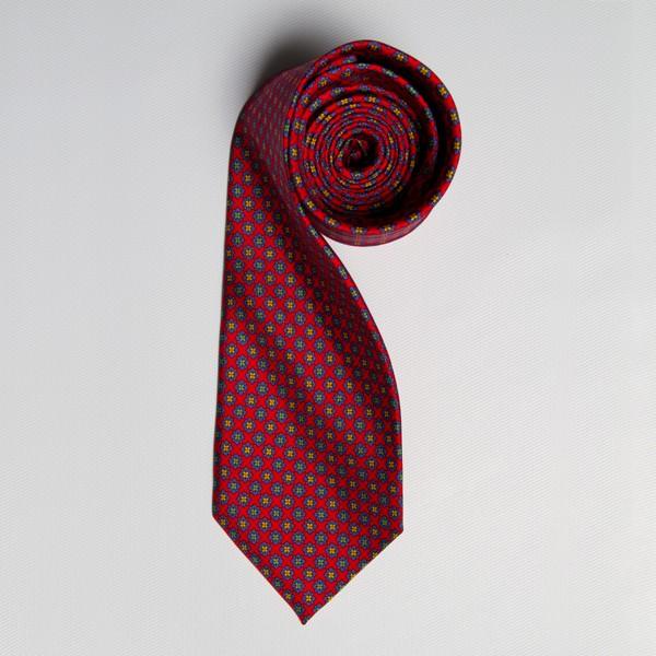 Red/Blue/Orange Floral Medallion Tie