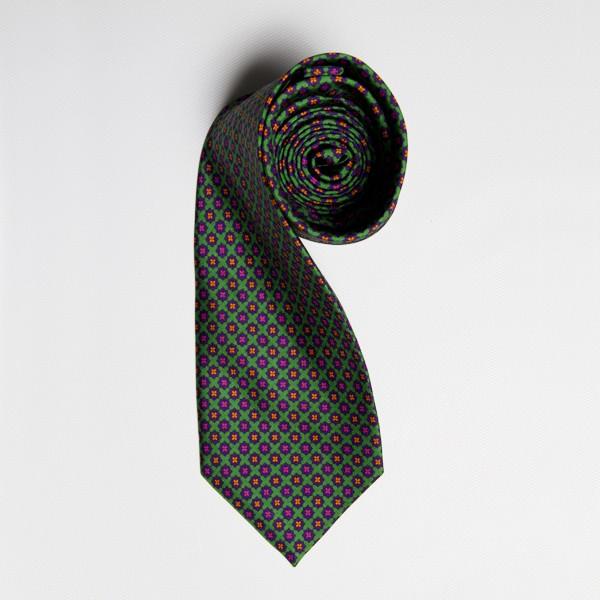 Lime/Orange/Pink Floral Medallion Tie