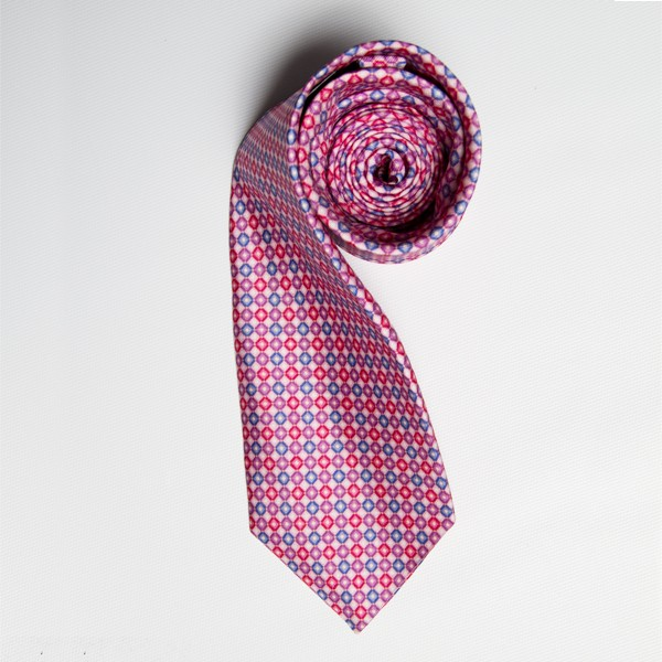 Light Pink/Blue Circle Print Tie