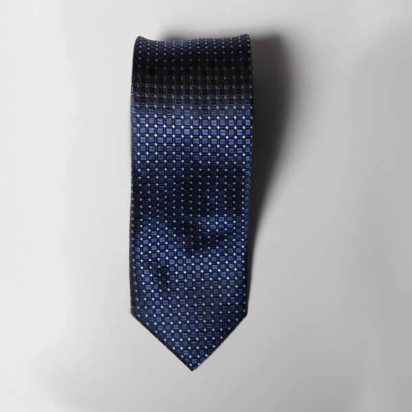 Navy Box Check Tie
