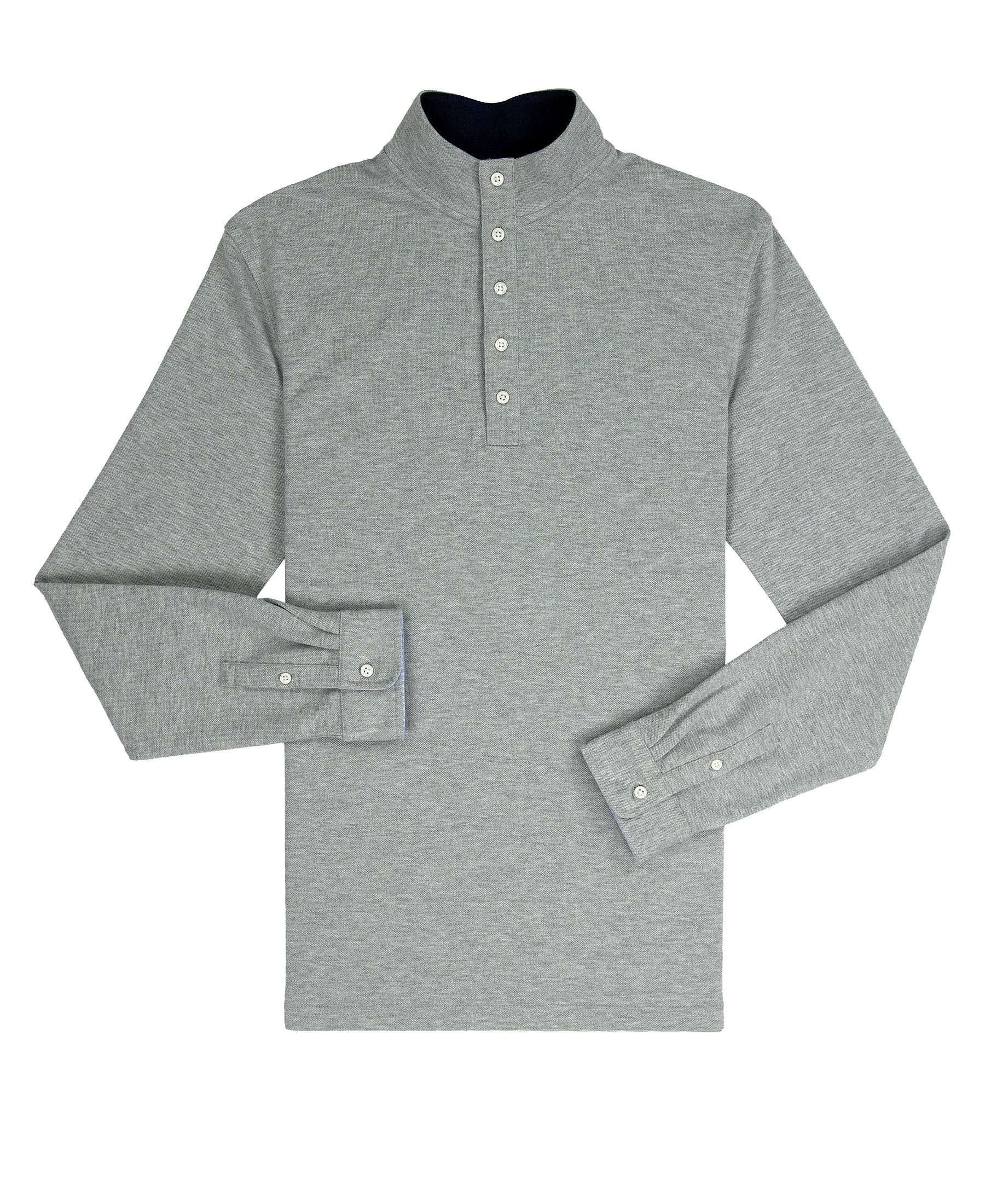 Mock Collar Pullover - Heather Grey Comfort Pique
