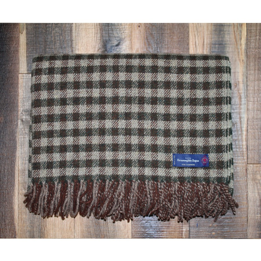 Brown and Hunter Check Ermenegildo Zegna 100% Cashmere Throw