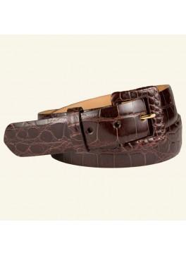 "1½"" Glazed Alligator Belt With Covered Buckle"