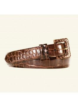 "1⅛"" Glazed Alligator Belt With Covered Buckle"