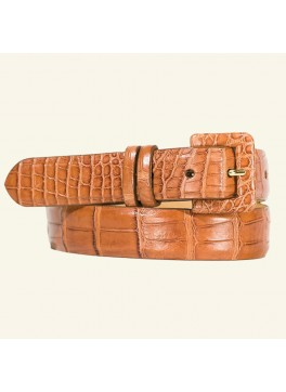 "1⅛"" Matte Alligator Belt With Covered Buckle"