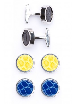 Interchangable Alligator Cufflinks (Black, Yellow, Blue)