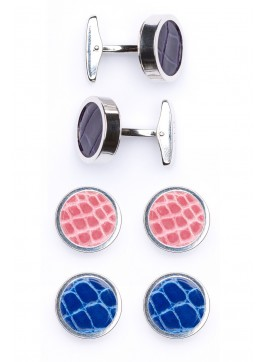 Interchangable Alligator Cufflinks (Purple, Pink, Blue)
