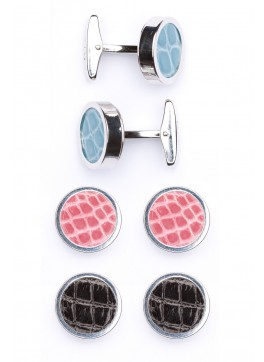 Interchangable Alligator Cufflinks (Light Blue, Pink, Black)