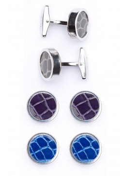 Interchangable Alligator Cufflinks (Gray, Purple, Blue)