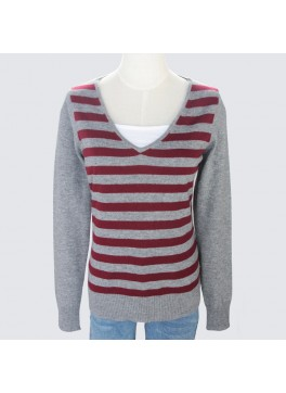 Ladies Striped Vee Neck