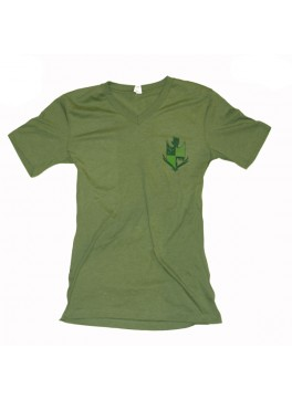 Bello Verde Green Shield on Green V-Neck