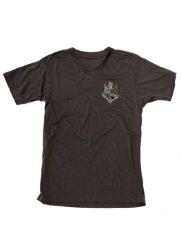 Bello Verde White Shield on Grey V-Neck