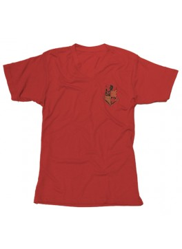 Bello Verde Black Shield on Red V-Neck