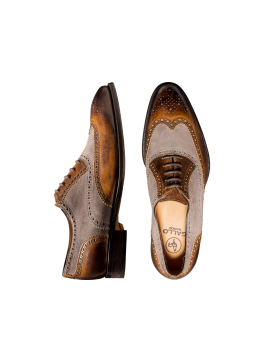 Suede and Leather Deco Wingtip Lace-up