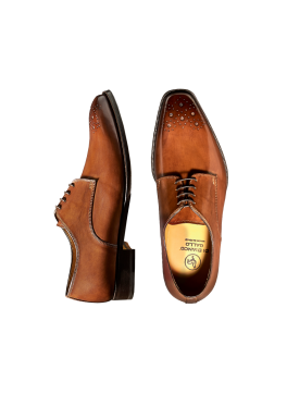 Cognac Deco Toe Lace-up