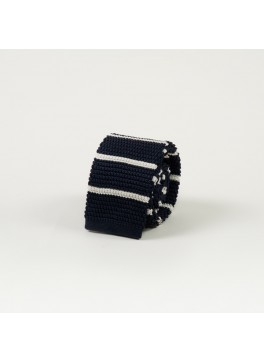 Navy w/ Horizontal White Stripe Knit Tie