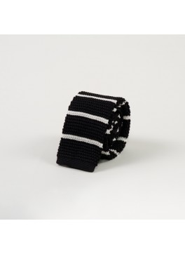 Black w/ Horizontal White Stripe Knit Tie