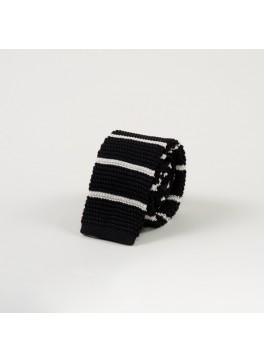 Black w/ Horizontal White Stripe Knit Tie