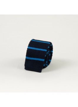 Navy w/ Horizontal Blue Stripe Knit Tie