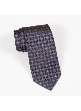Brown/Light Blue/Yellow Neat Tie