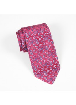 Pink w/ Small Blue Paisley Tie