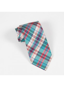 Teal/Pink Plaid Tie