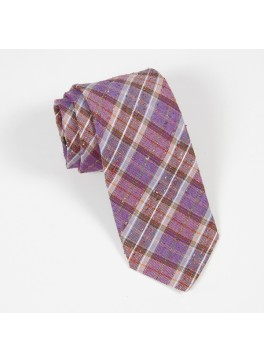 Purple/Orange Linen-Silk Plaid Tie