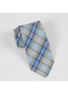 Blue/Green Linen-Silk Plaid Tie