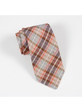 Brown/Orange Linen-Silk Plaid Tie