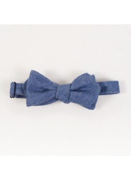 Blue Cashmere Diamond Point Bow Tie