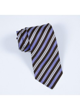 Brown & Light Blue Stripe Tie