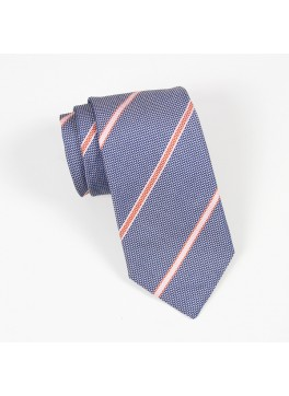 Blue with Orange/Pink Stripe Tie