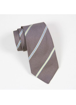 Brown with Light Blue/Yellow Stripe Tie