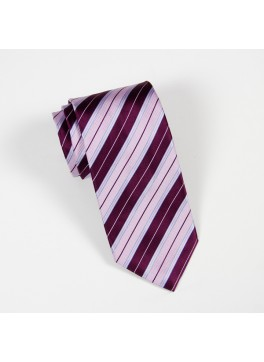 Eggplant Stripe Tie with Light Blue Accents
