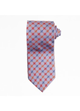 Light Blue Plaid Chain Tie