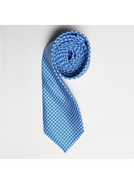 Light Blue Houndstooth Skinny Tie