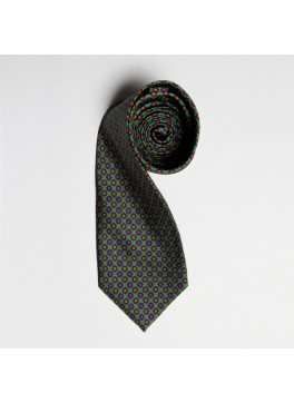 Lime/Orange/Pink Floral Medallion Tie
