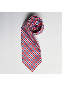 Red/Blue Watercolor Plaid Tie