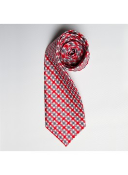 Red/Grey Watercolor Plaid Tie